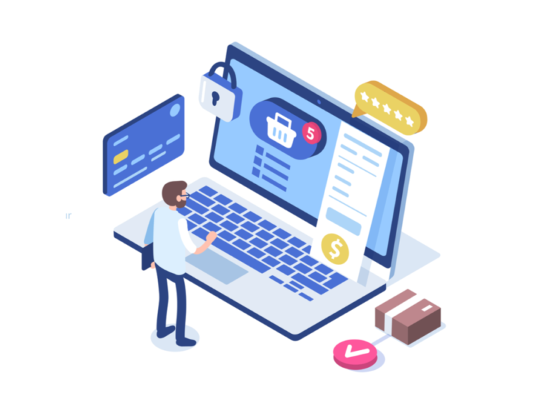 Illustration of making doing ecommerce checkout