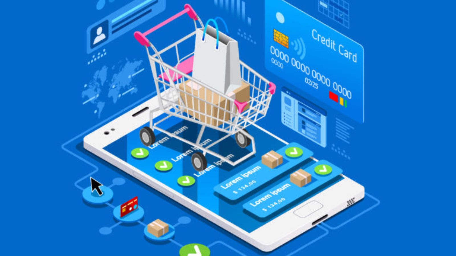 Illustration of an ecommerce shopping cart
